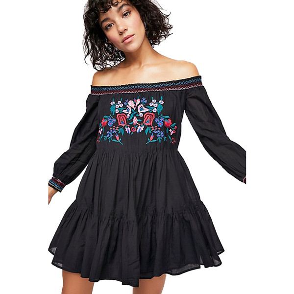 Best Bohemian # aus der Schulter Kleid 2019 schwarz bestickt Blumen Boho Baumwolle Mode süße Kittel Kleid