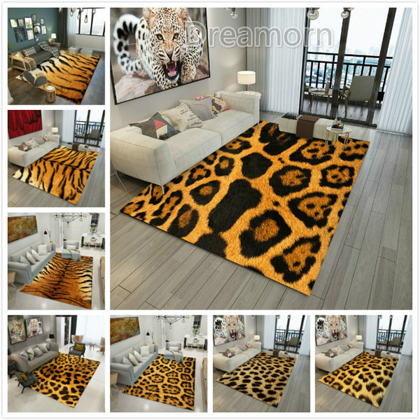 Brown Animal Pattern Rug Doormat Fur Leather Leopard Print Area Rug Tiger  Pattern Living Room Bedroom Carpet Floor Mat Discount Carpet Tiles Gabbeh  ...