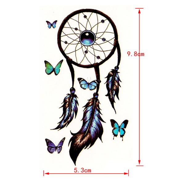 100pcs Romantic Dreamcatcher waterproof Temporary Tattoos men Feather Decals Tattoo Body Art butterfly temporary tatoo tatouage