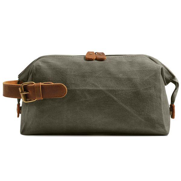 Nouvelle usure sac d'embrayage résistant à la peau Voyage en toile couleur unie cheval fou sac de maquillage femme sac de lavage portable femme sac à main femme