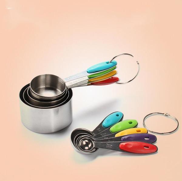 Venta caliente de acero inoxidable plegable Cucharas de medición Utensilios para hornear creativos juego de suministros de cocina para el hogar tazas de medición 10 unids / set H161