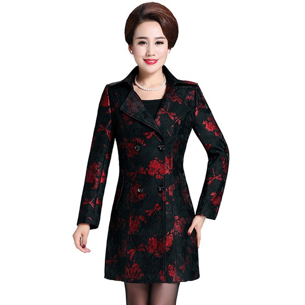 Haute coutur Trench coat for women 6XL New 2019 women coat plus-size Printed lace Classic coats Fashion Middle age clothing 4462