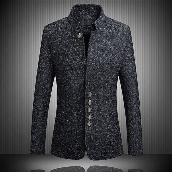 New Brand Chinese Tunic Suit Men's Stand Collar Suits High Quality Costume Male Slim Suit Mens Single-breasted jacket Plus Size