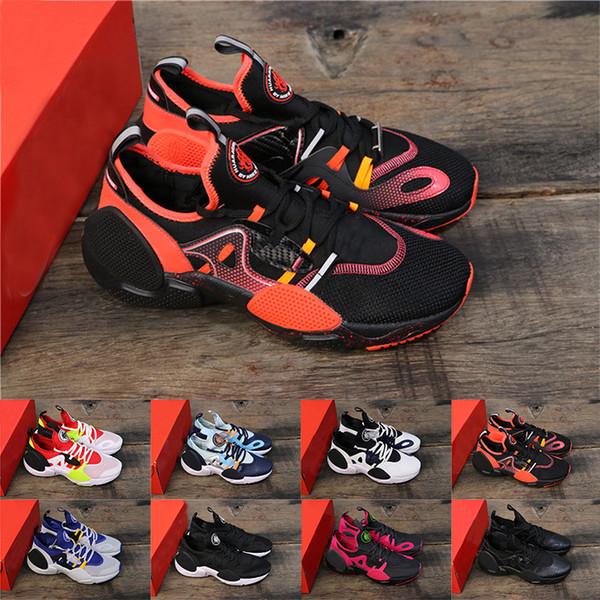 2019 Yeni Huarache D. G.E. TXT QS 7.0 Erkek Koşu Ayakkabıları Oreo Üçlü Siyah Beyaz Colorway Bayan lüks tasarımcı eğitmenler Sneaker Eur 36-45