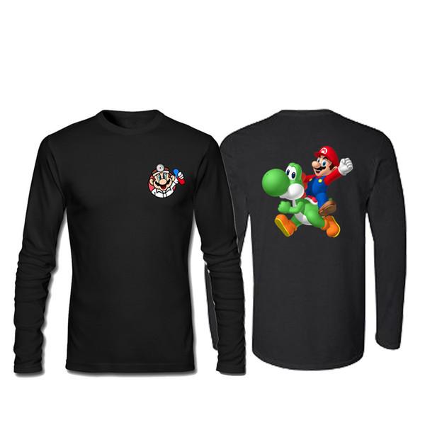 Super Mario Bros Luigi Koopa Yoshi 2019 Männer T-Shirt mit O-Ausschnitt und langen Ärmeln Sommer Casual Fashion T-Shirt SWAG