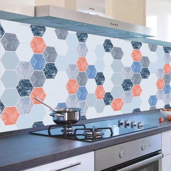 3D White Hexagon Wall Sticker Bathroom Mosaic Tile Decals Home Decor Oil-proof
