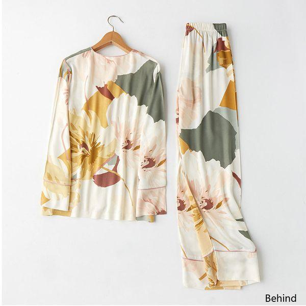 Moda 2 peças Mulheres elegantes pijamas de algodão de cetim casual com decote em V pijamas femininos define tinta vento impressão casa vestindo roupas de dormir