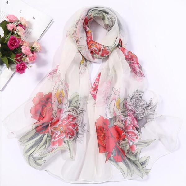 Chiffon silk scarf 2019 scarf female summer autumn all-match scarf long design air conditioning cape silk scarves shawl GB