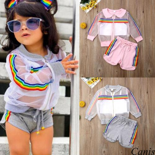 2019 Children Summer Clothing Toddler Kids Baby Girl Mesh Coat Vest Pants Outfit 3Pcs UV Sunsuit Colorful Rainbow Striped Set