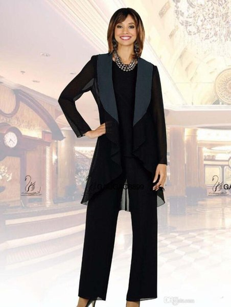 Mother of the Bride Pants Suits 2019 Fall Special Occasion Gowns Chiffon Custom Made Black Mother of the bride dress Evening Party Gowns
