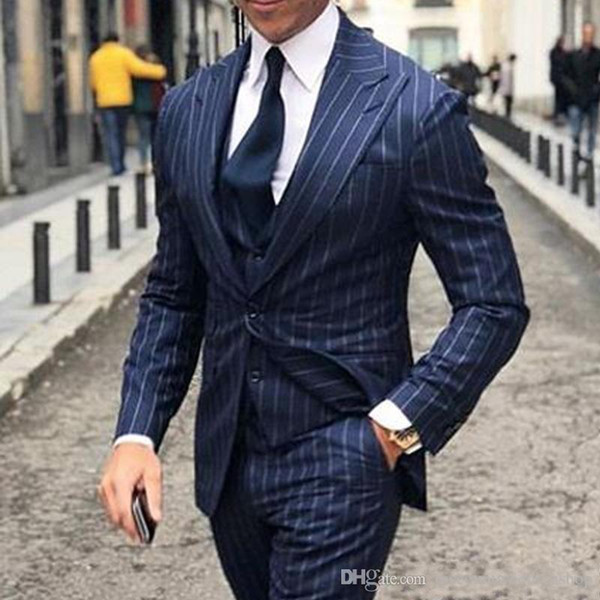 Fashionable One Button Navy Blue Strips Groom Tuxedos Peak Lapel Men Wedding Party Groomsmen 3 pieces Suits (Jacket+Pants+Vest+Tie) K203