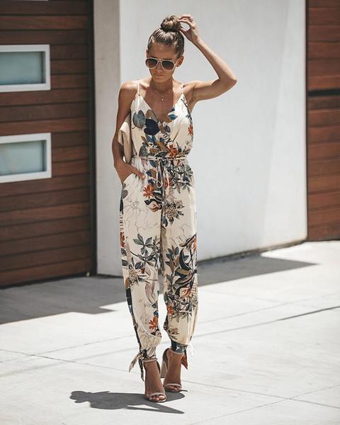 Open Back Tether Pocket Sling V-Neck Female Jumpsuit Floral Print Belt Wild One-Piece Trousers rompers womens jumpsuit