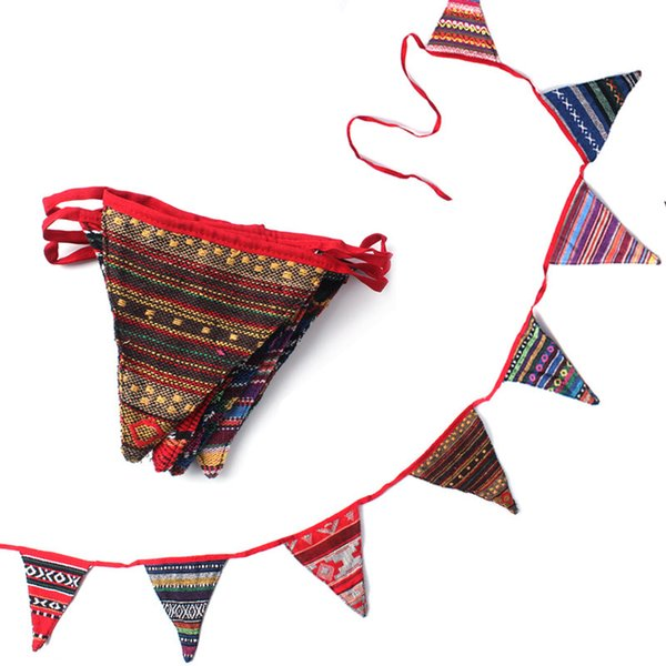 New Style Outdoor Camping Tent Decorative Flag Beautiful 8pcs Triangular Flag Tents Decoration Hanging Rope Garland Chain Free Shipping