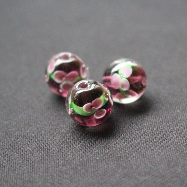 10pcs 12mm perle di vetro di Murano finee 3 fiore semplicemente colore viola per la fabbricazione di gioielli all'ingrosso e al dettaglio