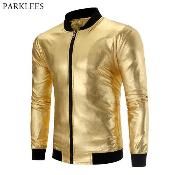 Mens ouro metálico Varsity Jackets Coats Chaqueta Hombre 2019 Discoteca Festa Jacket Baseball Stage Couro Masculino traje Homem de Lata