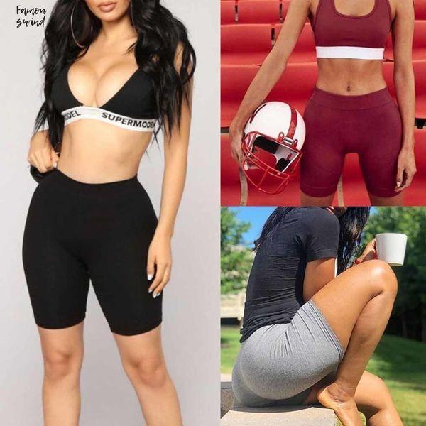 Mujeres pantalón corto deportivo La mitad de talle alto flaco de secado rápido de la bici Nueva gota del envío de la buena calidad ropa de las mujeres