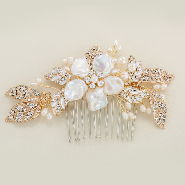 Gold Color Fresh Water Pearl Leaf Hair Combs Flower Style Wedding Hair Jewelry Accessories Bridal Head Decoration Comb Ornament