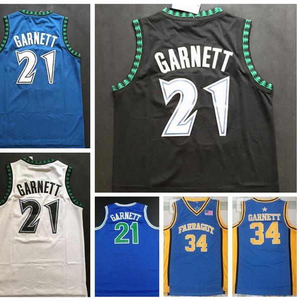 best selling Top Quality #21 Kevin Garnett Jerseys Black Blue White Stitched Shirts Mens Cheap 21 Kevin Garnett College Jerseys S-XXL