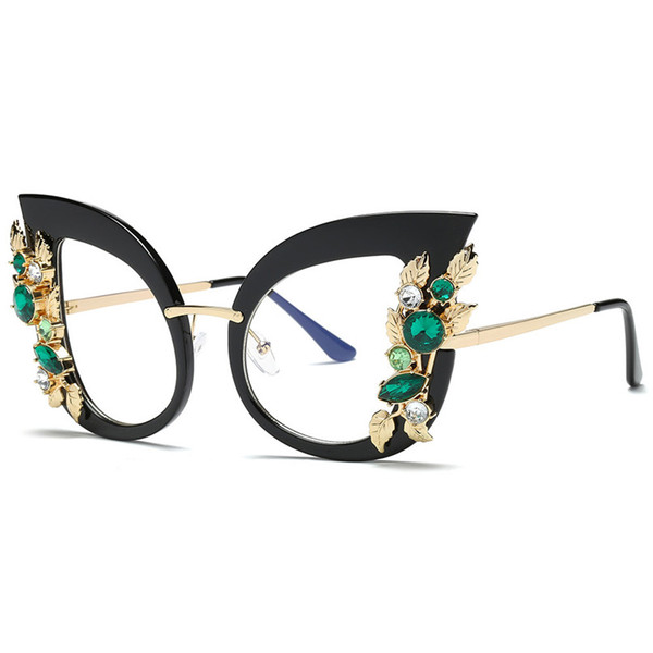 Sport Sunglasses Cycling Eyewear Womens Charming Artificial Diamond Cat Ear Metal Frame Brand Classic Sunglasses