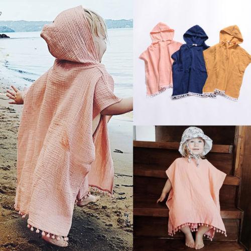2019 Moda Kapüşonlu Ceket Çocuklar Bebek Kız Pelerin Wrap Şal Püskül Kapşonlu Panço Pelerin Jumper