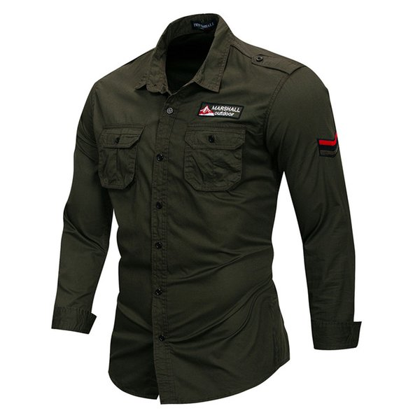 Embroidery Long Sleeve Outdoor Mens Casual Shirts Lapel Neck Army Green Plus Size Mens Shirts With Pockets
