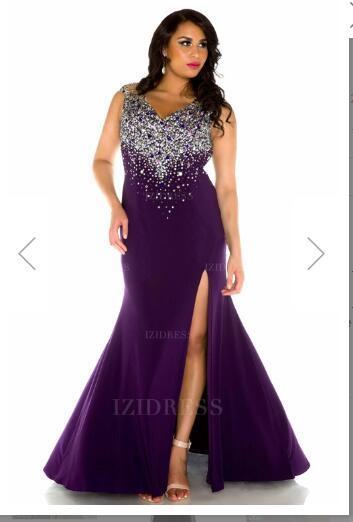 Sheath/Column V-neck Sweep/Brush Train Jersey Plus Size Prom Dressw13