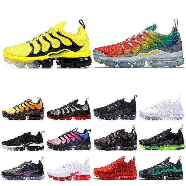 Nike air vapormax plus tn Flaş Fiyatları Ters Günbatımı Üzüm Klasik Zeytin Hiper Menekşe Bayan ve Erkek Koşu Tasarımcı Lüks Ayakkabı Sneakers Marka Eğitmenler