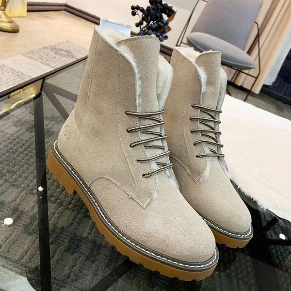Fashion Snow Boots for Women Faux Suede Ankle Boots Plus Velvet Classic Warm Fur Plush Lace-Up Women Shoes High Top Zapatos de hombre