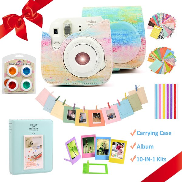 For Instax Mini 8 9 Instant Camera Painting Carrying Case Bag Cover PU Leather Protect Pouch + Album + Accessories