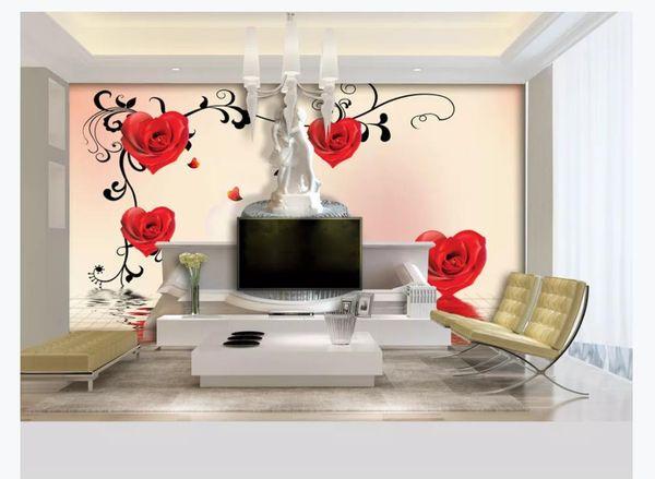En forme de coeur rose couple sculpture fontaine romantique 3D fond murale Wall Papers For Walls 3D Papel De Parede