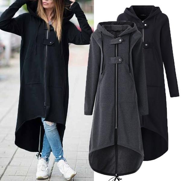Cropkop Moda Uzun Kollu Kapşonlu Trençkot 2018 Sonbahar Siyah Fermuar Artı Boyutu 5xl Kadife Uzun Ceket Kadın Palto giysi T190824
