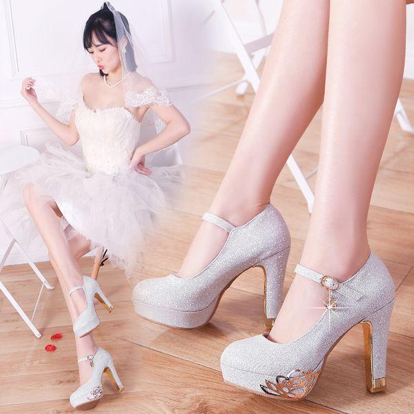Big Small Size 33 To Size 40 41 42 43 Elegant wedding heels shoes bride metal flower silver pumps high platform designer shoes