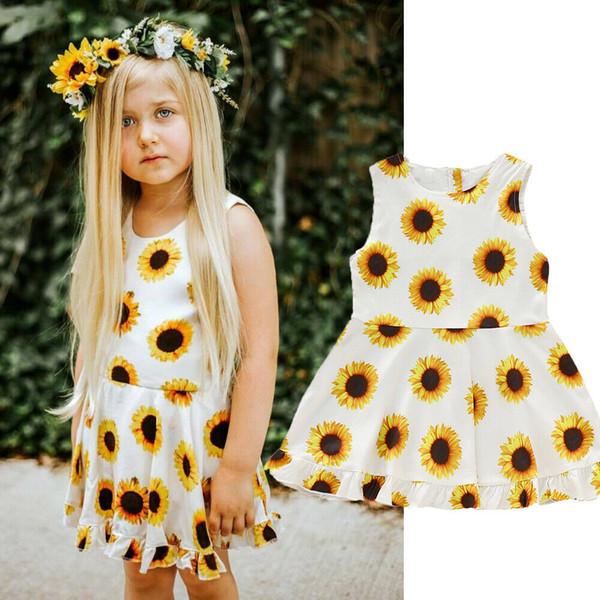 Summer Kids Baby Girl Sleeveless Sunflower Party Dress Sundress Outfits Set