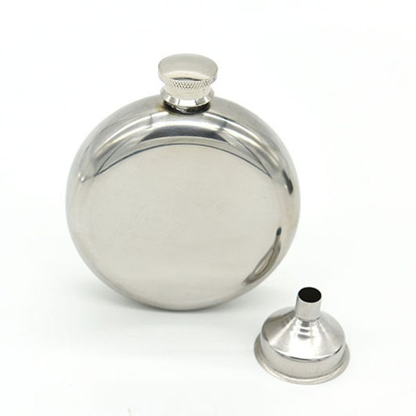 5 oz Ayna Pürüzsüz Erkekler Taşınabilir Paslanmaz Çelik Taşınabilir Yuvarlak Flagon Kalça Şişeler Küçük Huni ile Sıcak Satış