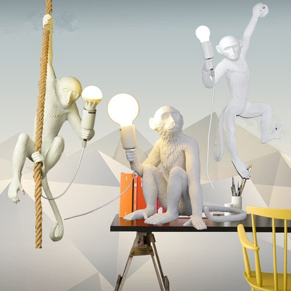 Yaratıcı Maymun Şekli Reçine Kolye Işıkları Retro E27 Restoran Yatak Odası Cafe beyaz Kolye lamba Aydınlatma Armatürü