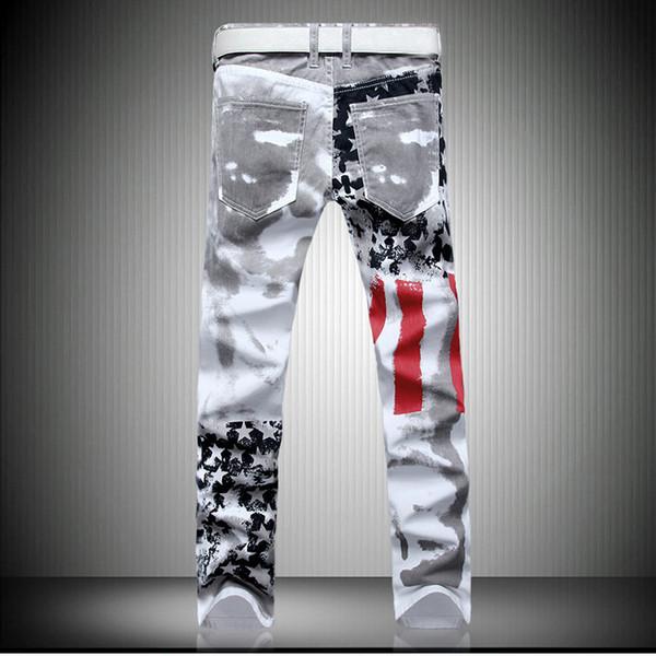 2019 мужчин новый стиль Белые печатные джинсы Ultra-стрейч Slim Fit Повседневный пятиконечная звезда красная полоса брюки Большой размер