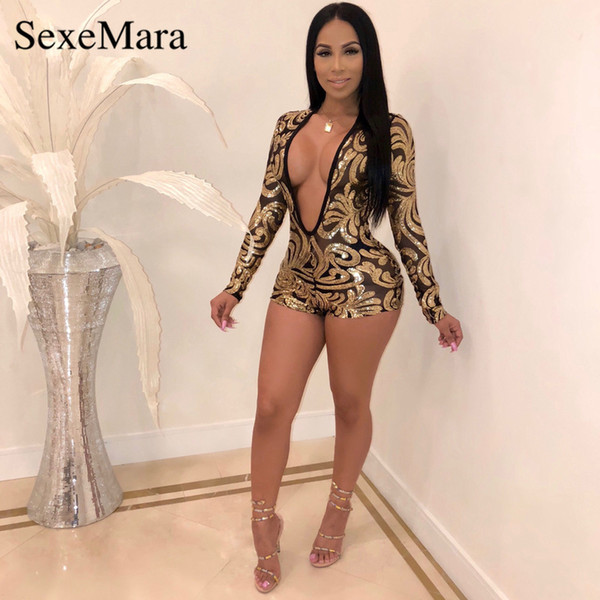 aa86f6998bb ANJAMANOR Women Club Party Sexy Romper Jumpsuit Black Mesh Gold Sequin Long  Sleeve Deep V Short Bodycon Jumpsuits D41-AG25