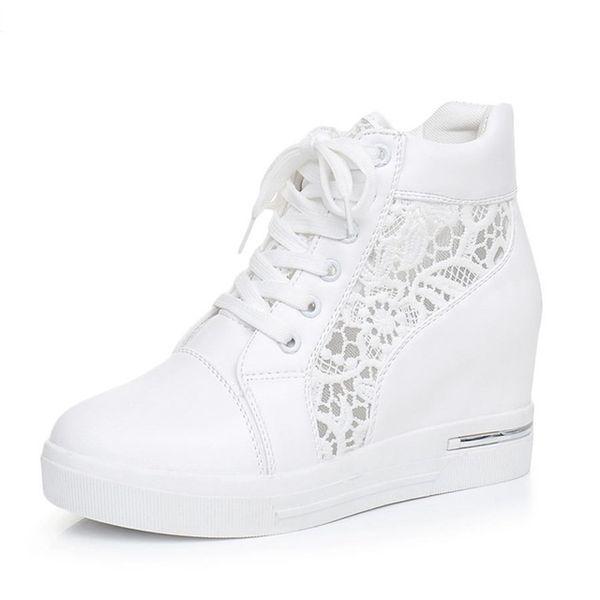 Frauen Wedge Platform Rubber Brogue Leder Schnürschuhe High Heel Schuhe Spitz Zunehmende Creepers Weiß Silber Turnschuhe
