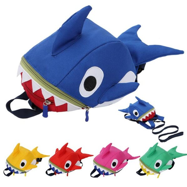 Baby Shark Backpack School Kids 3D Animal Cartoon Kindergarten Student Toddler Anti Lost Travel Bag Storage Bags 100pcs OOA6386