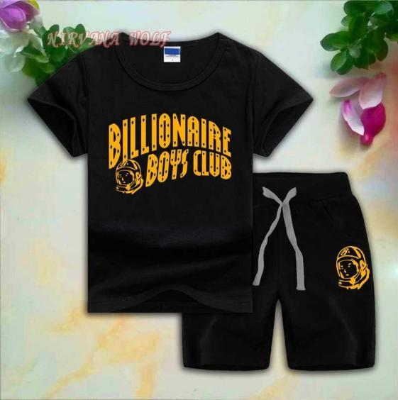 BB CLUB Kids Sets 1-8T Kids T-shirt Short Pants 2Pcs/sets Baby Boys Girls 95% Cotton Gold Letters Printing Style Summer Sets