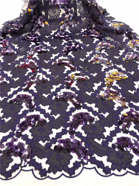 African Lace Fabric gold African Guipure Lace fabric with Sequins High Quality French Lace 3d sequin Fabric For Wedding purple