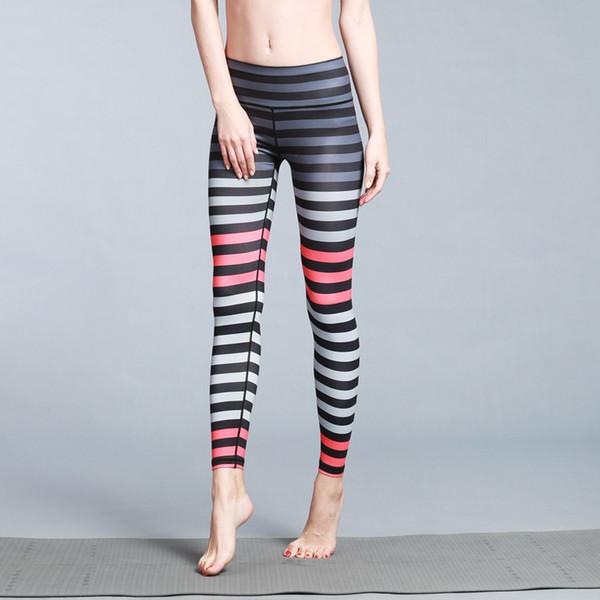 Bayanlar renkli baskı çizgili yoga pantolonları seksi kadınlar Spor Tozluklar Running Push Up Yüksek Bel Enerji Sorunsuz Tozluklar Gym