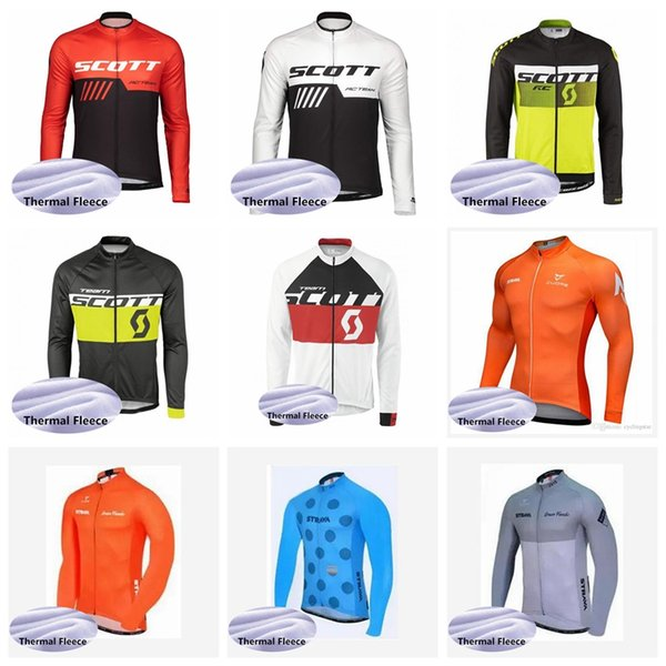 SCOTT STRAVA Men's Windproof Thermal Cycling Jacket Autumn Winter Warm Up Bicycle Reflective Jerseys Windbreaker Coat MTB Bike Clothing52113