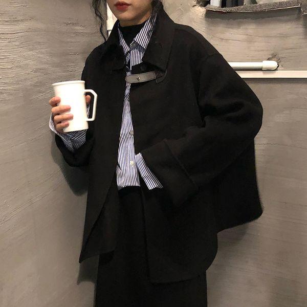 women's hepburn black cloak woolen jacket coat 2019 autumn winter new korean loose short jacket coat women student ml092