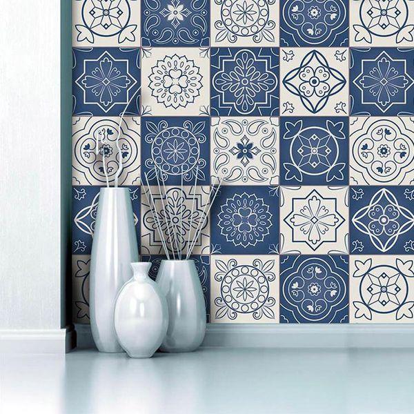 Blue White Mediterranean Style Wall Sticker Self Adhesive Waterproof Wallpaper Kitchen Bathroom Diy Mural Tile Sticker Floor Wallpaper Roll Bedroom
