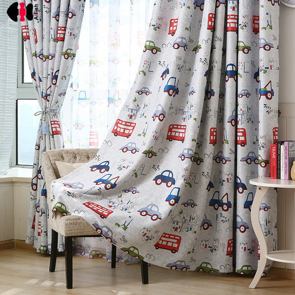 Cartoon Cars Bus Printed Kids Curtains Semi-Blackout Darkening Thermal Insulated Window Panel Drapes for Boys Bedroom wp146c