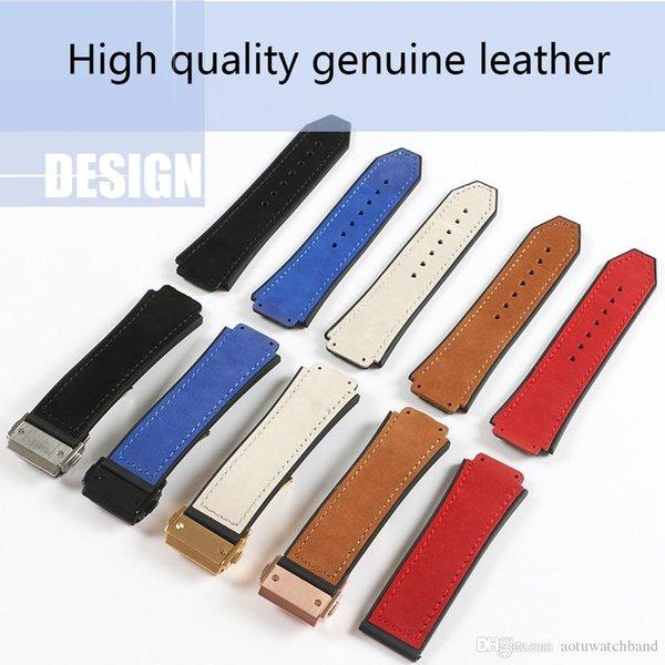 Echtes Leder Armband Gummi Silikon Armband für HUB Watch Man Strap schwarz blau braun wasserdicht 25x19mm Faltschließe 22mm
