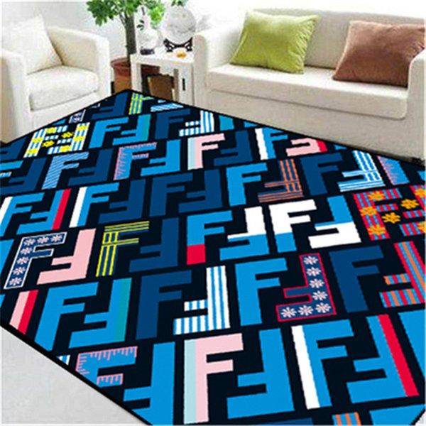 Completo F Letra Tapete Azul Costura Cor Impressão Não-slip Tapete Novo Designer Simples Nordic Tapetes
