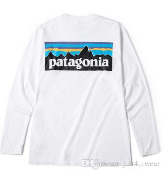 Mens Fashion Brand Tees PATAGONIA Long Sleeve Crew Neck T-Shirts Hommes Tops Women Casual Loose Tees Mountain Lovers Peak Print White Tshirt