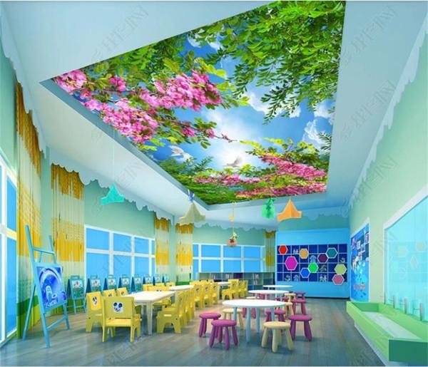 Custom 3D Photo Wallpaper Techo Salón Mural Flor Roja Hojas Verdes Zenith Imagen 3d Wall Room Mural Wallpaper No tejido Etiqueta